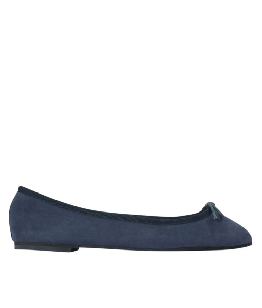 AnnaKastle Womens Vegan Suede Bow Front Ballet Flats Navy
