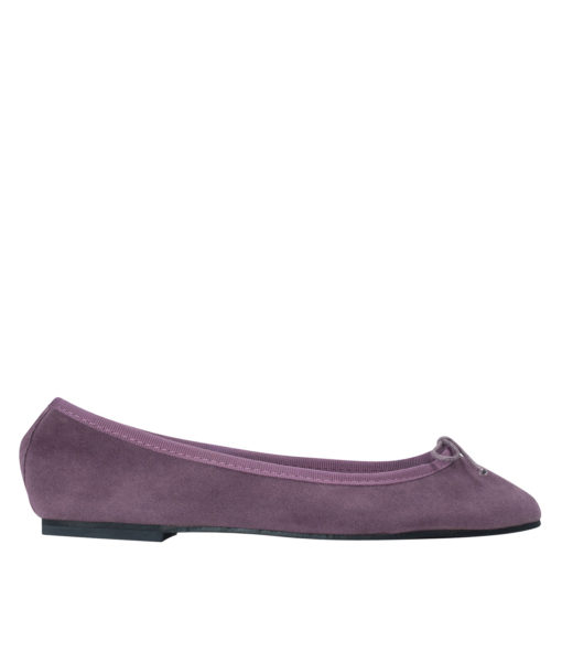 AnnaKastle Womens Vegan Suede Bow Front Ballet Flats Purple
