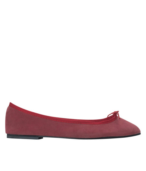 AnnaKastle Womens Vegan Suede Bow Front Ballet Flats Red