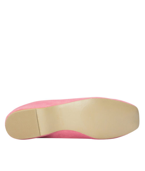 AnnaKastle Square Toe Elastic Ballerina Flats French Pink