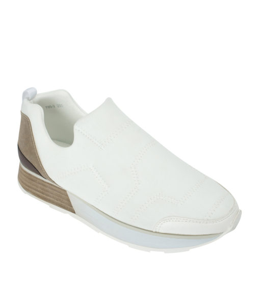 AnnaKastle Womens Sporty Neoprene Slip On Sneakers White