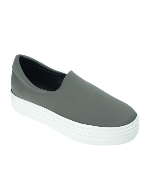 AnnaKastle Womens Neoprene Stretch Platform Slip On Sneakers Gray