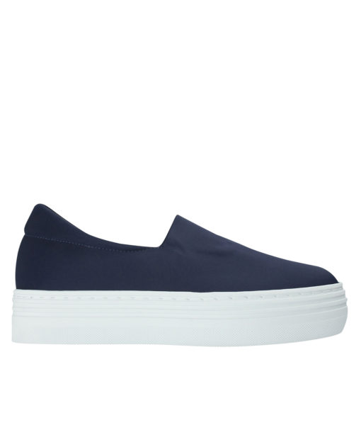 AnnaKastle Womens Neoprene Stretch Platform Slip On Sneakers Navy