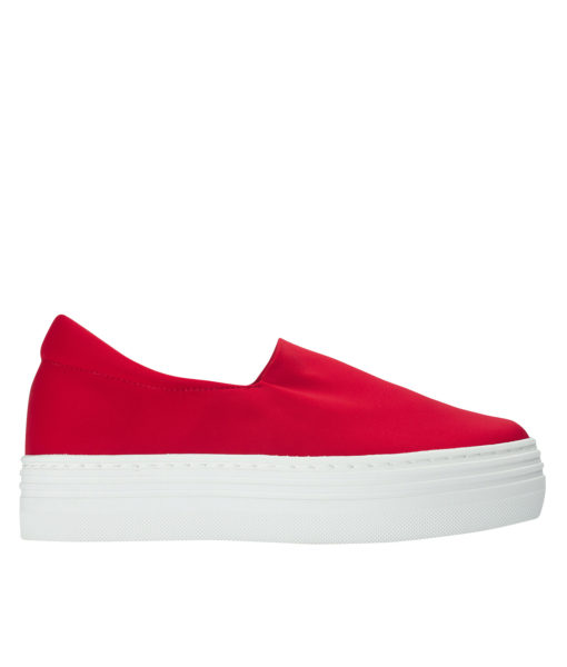 AnnaKastle Womens Neoprene Stretch Platform Slip On Sneakers Red