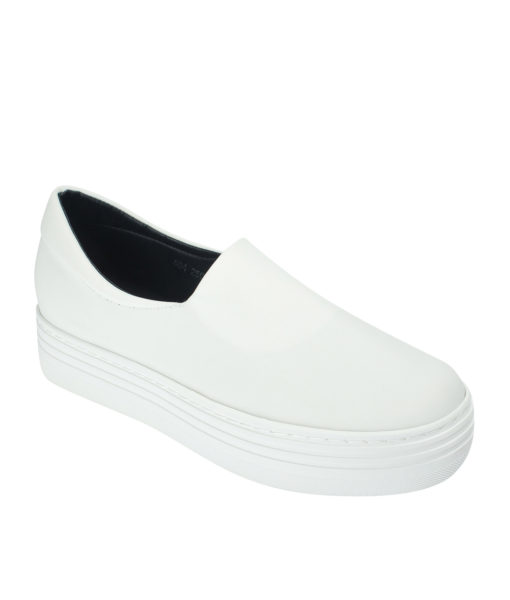 AnnaKastle Womens Neoprene Stretch Platform Slip On Sneakers White
