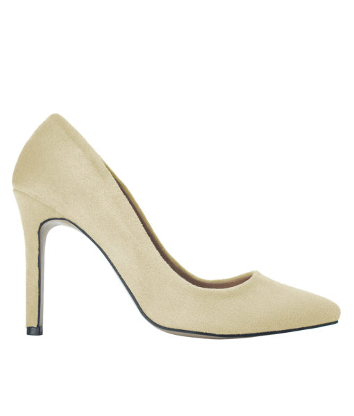 AnnaKastle Womens Pointy Toe Suede Court Shoes Beige