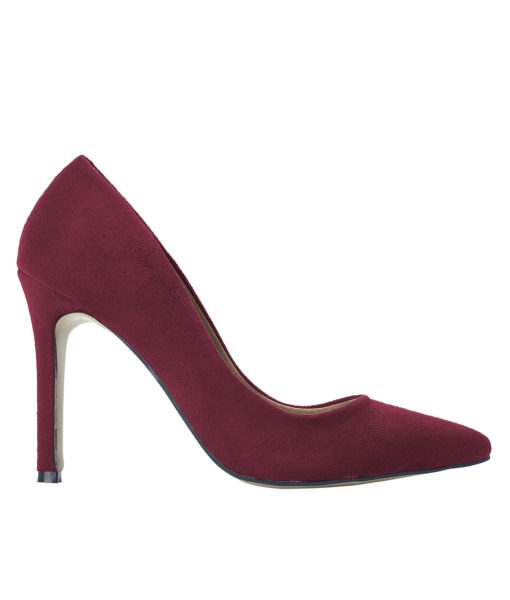 AnnaKastle Womens Pointy Toe Suede Court Shoes Burgundy