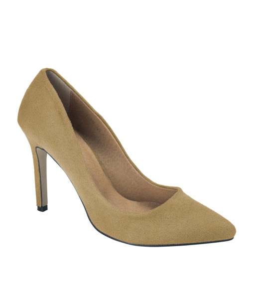 AnnaKastle Womens Pointy Toe Suede Court Shoes Camel Brown