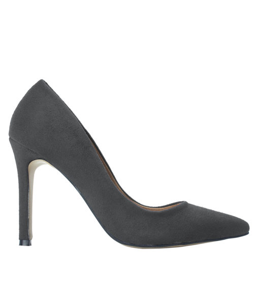AnnaKastle Womens Pointy Toe Suede Court Shoes Charcoal