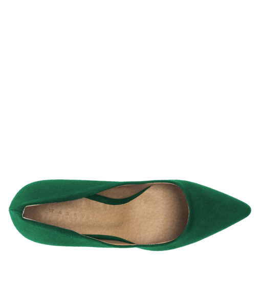 AnnaKastle Womens Pointy Toe Suede Court Shoes Christmas Green