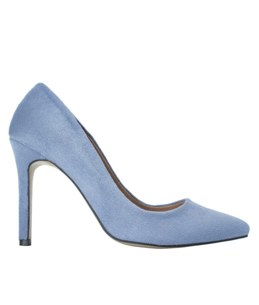 AnnaKastle Womens Pointy Toe Suede Court Shoes Cornflower Blue