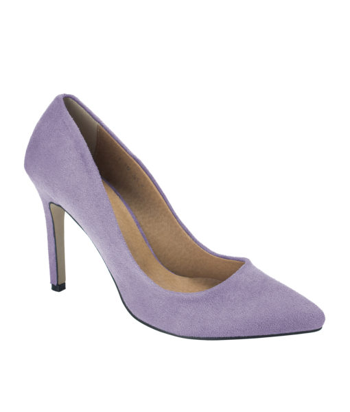 AnnaKastle Womens Pointy Toe Suede Court Shoes Light Purple
