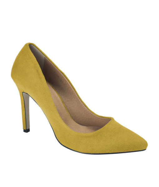 AnnaKastle Womens Pointy Toe Suede Court Shoes Mustard