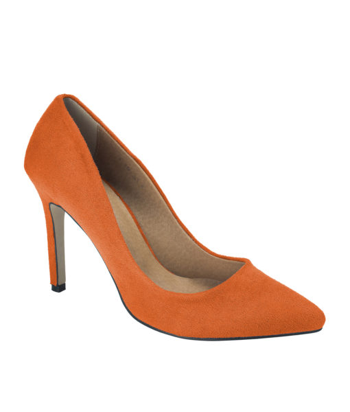 AnnaKastle Womens Pointy Toe Suede Court Shoes Orange