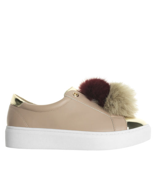 AnnaKastle Womens Vegan Leather Double Pompom Sneakers Pink