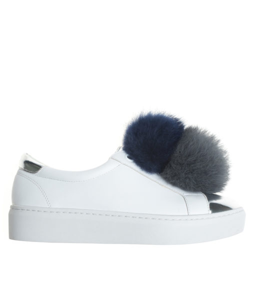 AnnaKastle Womens Vegan Leather Double Pompom Sneakers White