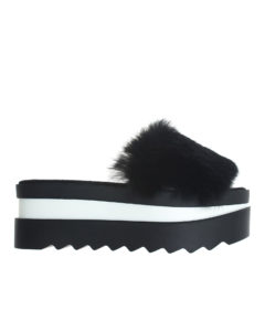 AnnaKastle Womens Fur Vamp Platform Slide Sandals Black