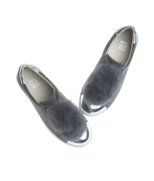 AnnaKastle Womens Faux Suede Fur Pompoms Slip-On Sneakers Gray