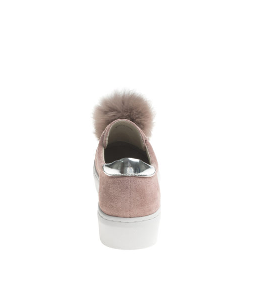 AnnaKastle Womens Faux Suede Fur Pompoms Slip-On Sneakers RuddyPink