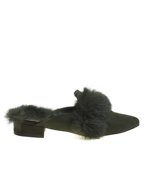 AnnaKastle Womens Fur Trim Pointy Toe Loafer Mules Army Green