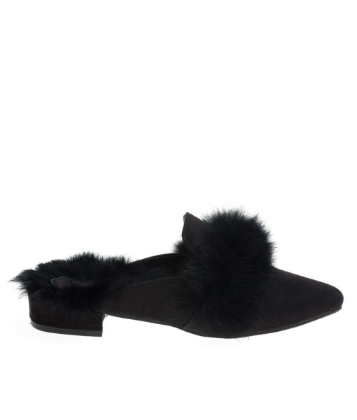 AnnaKastle Womens Fur Trim Pointy Toe Loafer Mules Black