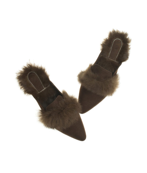 AnnaKastle Womens Fur Trim Pointy Toe Loafer Mules Brown