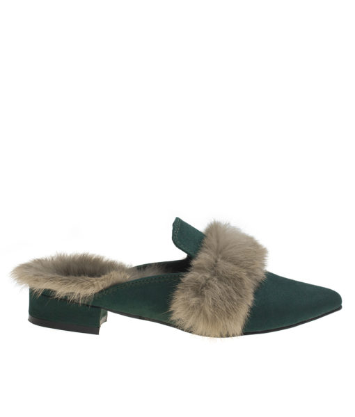 AnnaKastle Womens Fur Trim Pointy Toe Loafer Mules Green