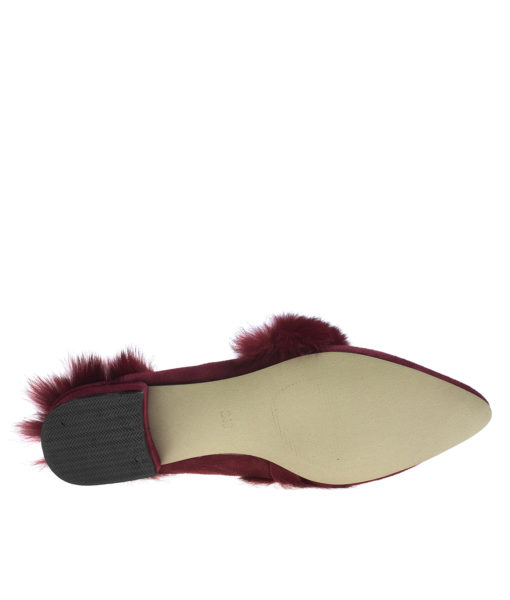 AnnaKastle Womens Fur Trim Pointy Toe Loafer Mules Wine