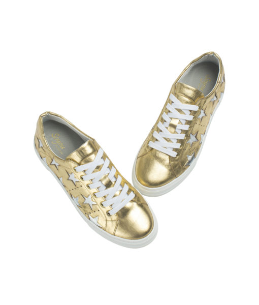 AnnaKastle Womens Star Cutout Sneakers Gold