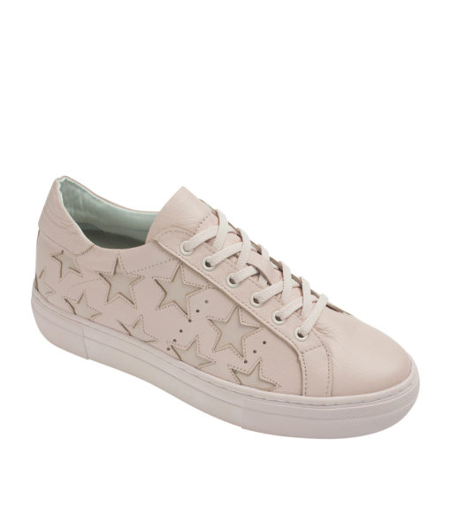 AnnaKastle Womens Star Cutout Sneakers Pink
