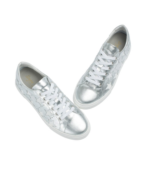 AnnaKastle Womens Star Cutout Sneakers Silver