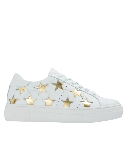 AnnaKastle Womens Star Cutout Sneakers White + Gold Stars