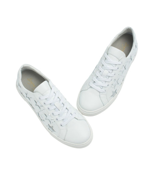 AnnaKastle Womens Star Cutout Sneakers White + Silver Stars