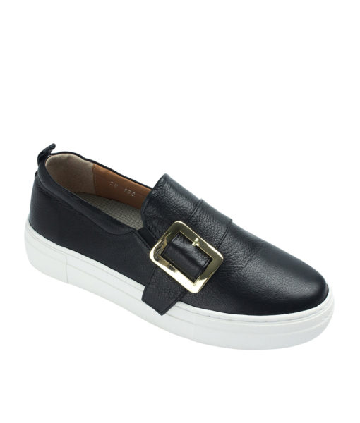 AnnaKastle Womens Buckled Leather Slip-On Sneakers Black