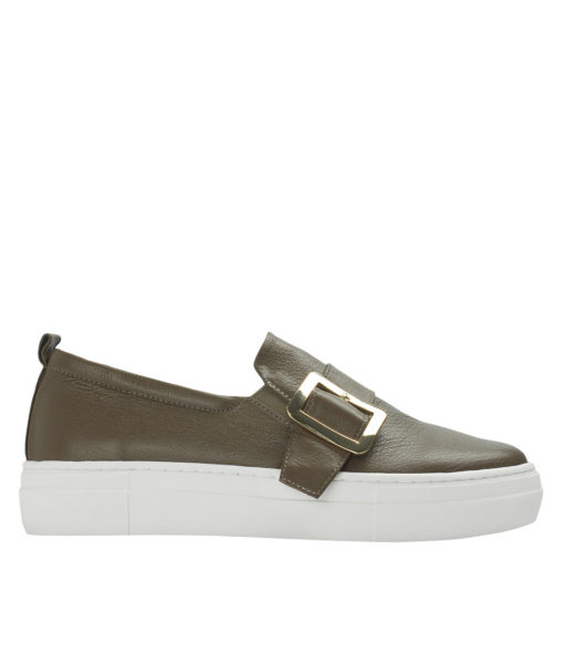 AnnaKastle Womens Buckled Leather Slip-On Sneakers Brown