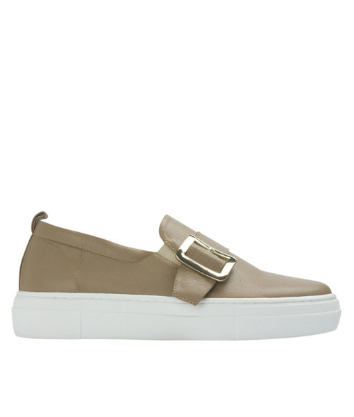 AnnaKastle Womens Buckled Leather Slip-On Sneakers Lion