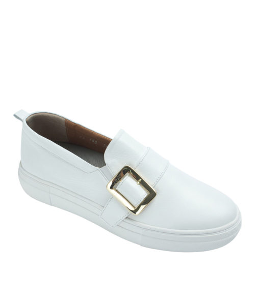 AnnaKastle Womens Buckled Leather Slip-On Sneakers White