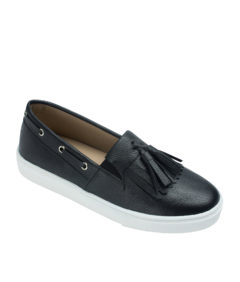 AnnaKastle Womens Kiltie Tassel Loafer Sneakers Black