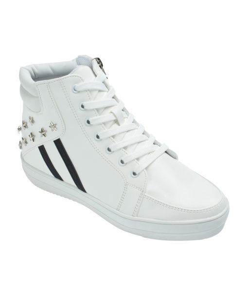 AnnaKastle Womens Star Studded High Top Sneakers White