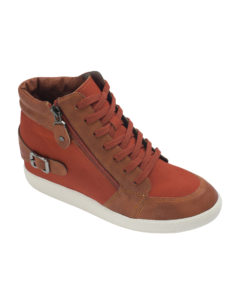 AnnaKastle Womens Side-Zip Hi Top Wedge Sneakers Rust