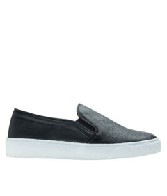 AnnaKastle Womens Vegan Leather Classic Slip-On Sneakers Black