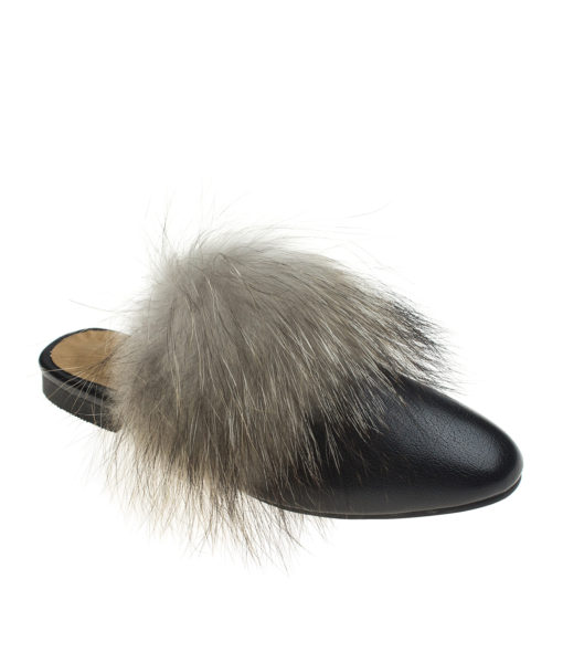 AnnaKastle Womens Fox Fur Front Mule Loafers Black