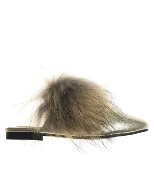 AnnaKastle Womens Fox Fur Front Mule Loafers Gold