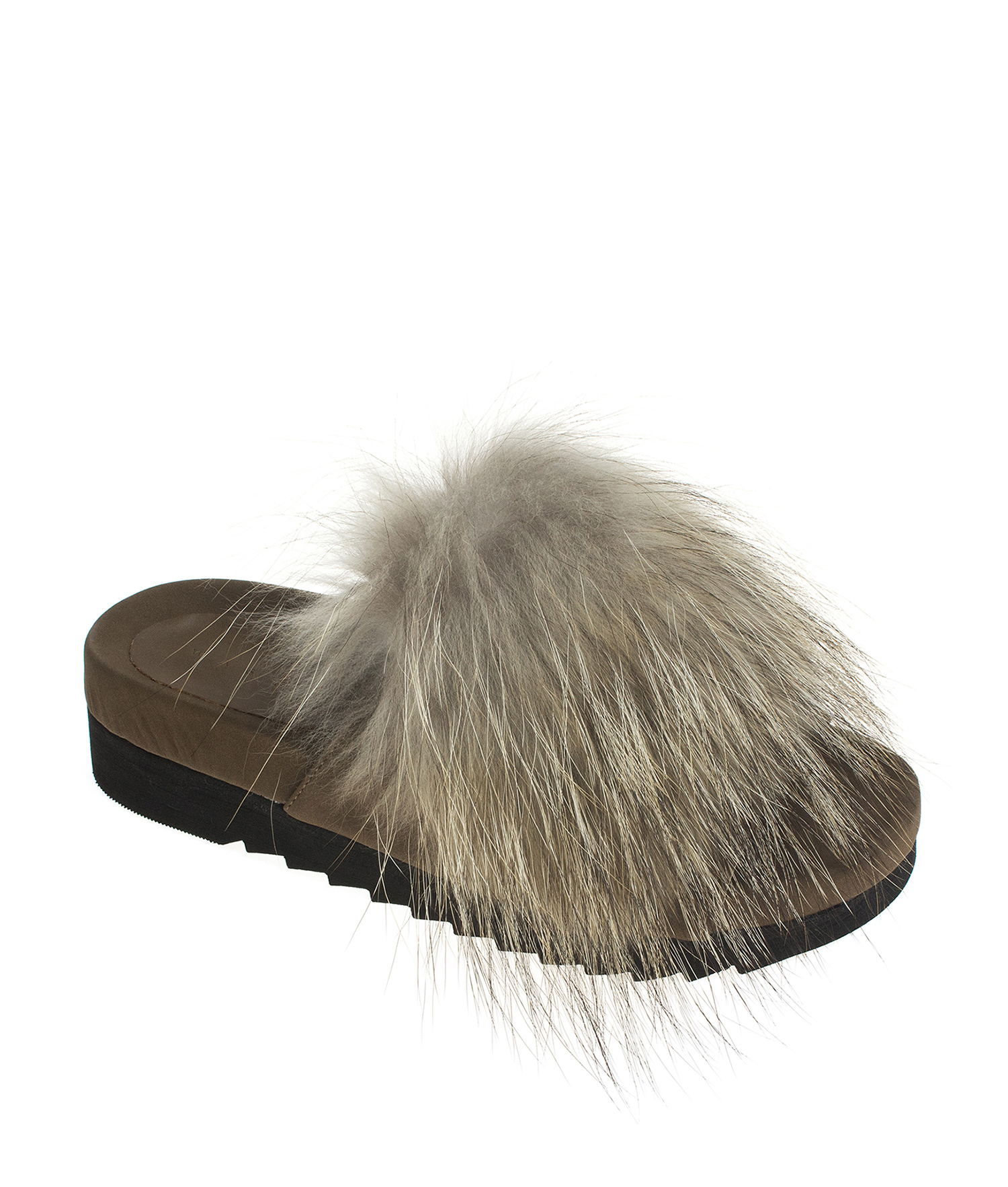AnnaKastle Womens Fox Fur Platform Slide Sandals Brown