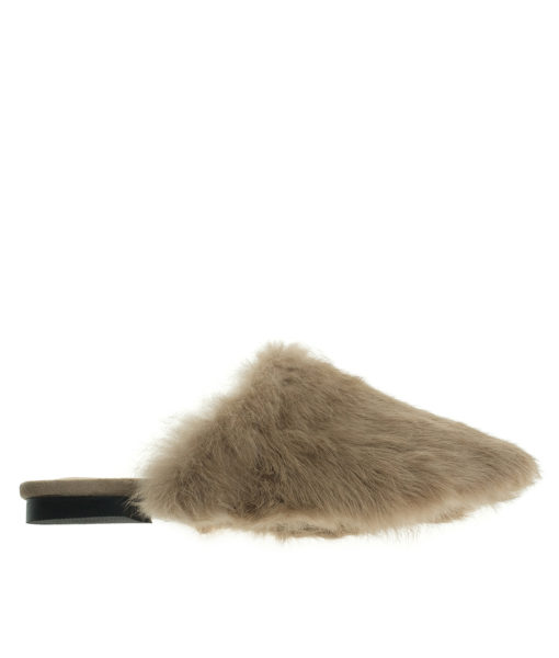 AnnaKastle Womens Faux Fur Covered Mules Camel