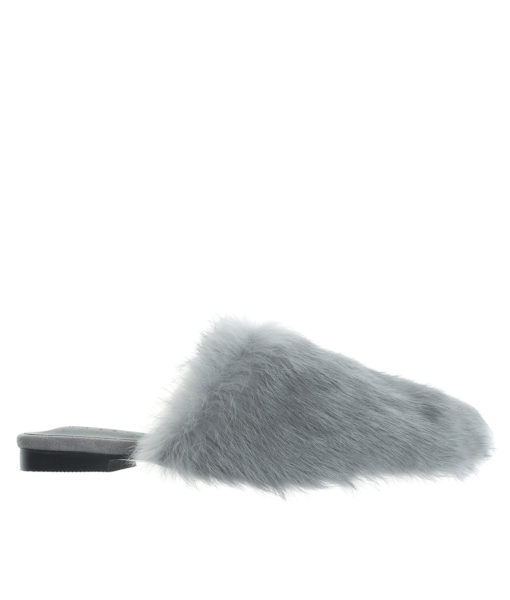 AnnaKastle Womens Faux Fur Covered Mules Gray