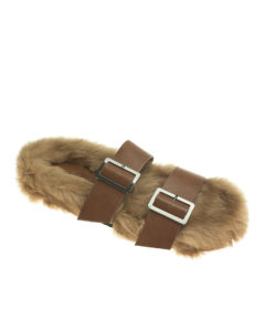 AnnaKastle Womens Rabbit Fur Covered Double Band Slides Brown