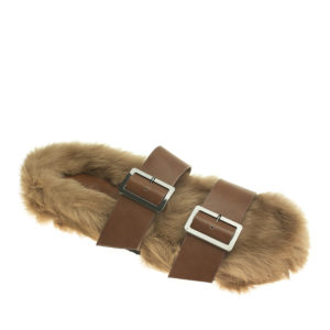 6dbc4df29d5e9 AnnaKastle Womens Rabbit Fur Covered Double Band Slides Brown ...