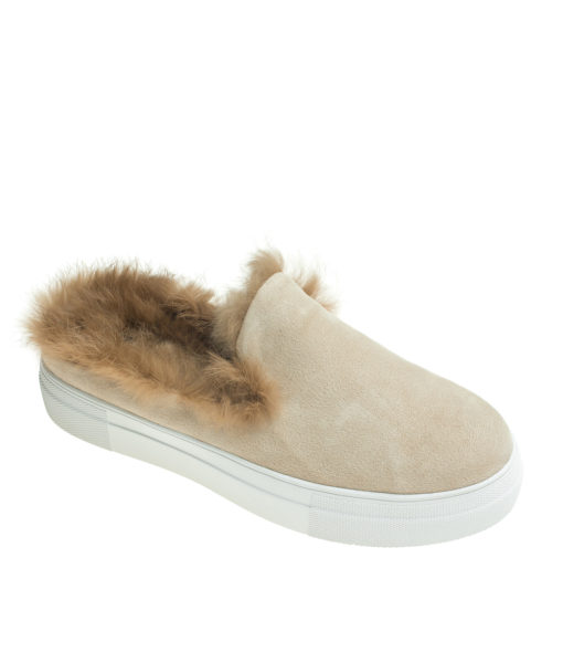 AnnaKastle Womens Fur Lined Mule Slip On Sneakers Beige