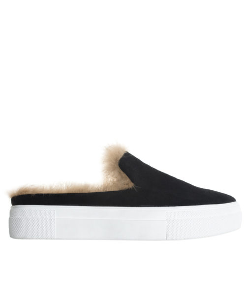 AnnaKastle Womens Fur Lined Mule Slip On Sneakers Black